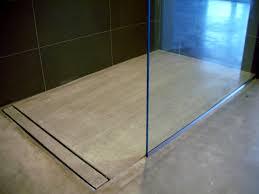 Bathroom Shower Drains Modern Open Concept Bathroom Featuring A Concrete Floor A