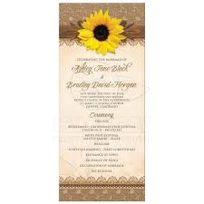 rustic wedding programs wedding program rustic sunflower burlap lace wood