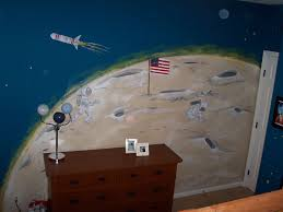 childrens painted wall murals cathie s murals childrens murals space moon surface with american flag