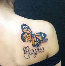 collection of 25 3d butterflies tattoos on clean back