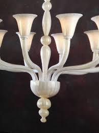 Glass Blown Chandeliers by 2 Italian Modern Neoclassical Hand Blown White And Gold Murano