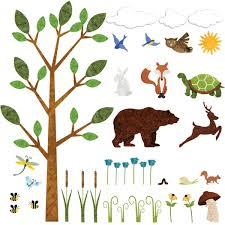 Forest Nursery Wall Decals by Forest Wall Sticker Set U2013 37 Peel U0026 Stick Woodland Decals For Nursery