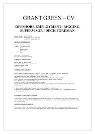 Supervisor Cv Sample Grant Green Offshore Cv