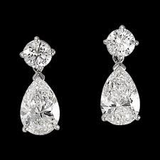 diamond drop earrings 1 75ctw brilliant and pear cut diamond earrings in 14k white