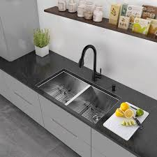 16 Gauge Kitchen Sink by Vigo Alma 32 Inch Undermount 50 50 Double Bowl 16 Gauge Stainless