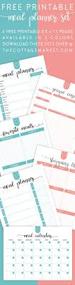 free printable recipe pages free printable meal planner set the cottage market
