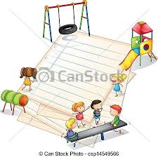 clip art vector of a paper with a park with many kids