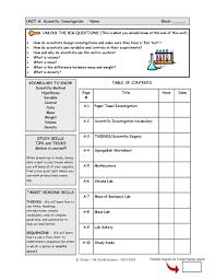 unit a scientific investigation pdf flipbook