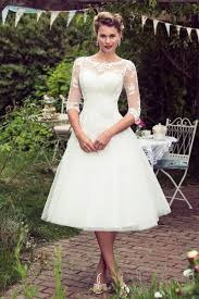 rustic half sleeves lace tulle simple tea length a line wedding