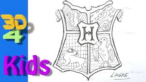 draw hogwarts shield logo harry potter easy kids