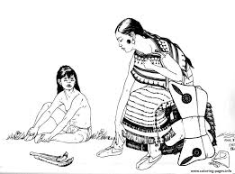 native indian and child coloring pages printable