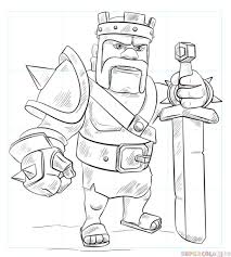 how to draw barbarian king from clash of clans step by step