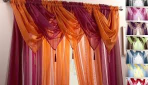 curtains graceful white and orange voile curtains sensational