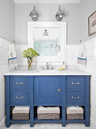 Industrial Style Bathroom Vanity by Beach Bathroom Decor Blue Cabinets Blue Vanity And Center Stage
