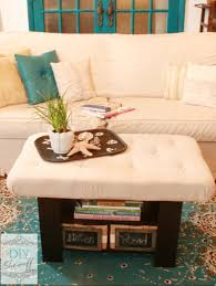 Diy Tufted Storage Ottoman Simple Diy Ottoman Coffe Table With White Fabric Cover And