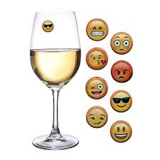 emoji wine charms and magnetic drink glass markers set