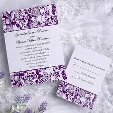 purple wedding invitations classic damask purple and white wedding invitations ewi031 as low