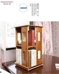 Round Revolving Bookcase Desk Table Shelf Simple Shelf 360 Degree Rotating Bookcase