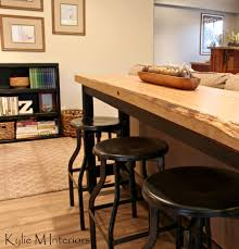 industrial bar table and stools live edge bar table behind sectional with industrial stools in a man