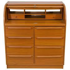 Wood Secretary Desk by Scandinavian Roll Top Secretary Desk For Sale At 1stdibs