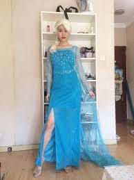 cosplay elsa queen women dress costume cosplay flowery fancy