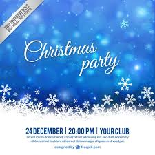 white and blue christmas party poster vector free download