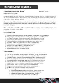 Resume Employment History Sample by Resume For Auto Mechanic 19 Automotive Mechanic Resume Sample