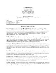 Military Job Descriptions For Resume by Assistant Medical Assistant Job Resume