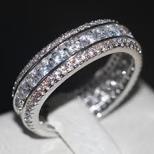 channel set wedding band vecalon channel set fashion women jewelry aaaaa zircon