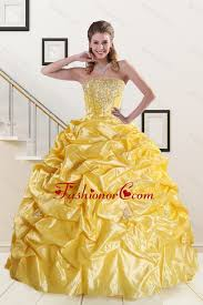 2015 quinceanera dresses yellow beading strapless 2015 quinceanera dresses with sweep