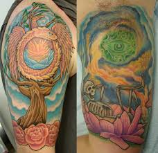 4 hippie tattoos on half sleeve