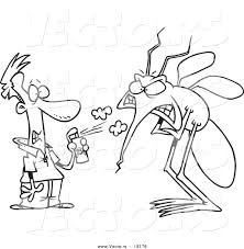 vector of a cartoon man spraying a big bug with repellent