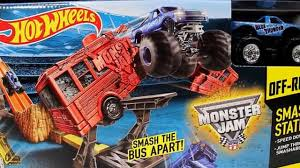 blue thunder monster truck videos wheels monster jam off road smash up station with blue thunder