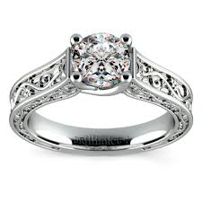Solitaire Wedding Rings by Antique Solitaire Engagement Ring In White Gold