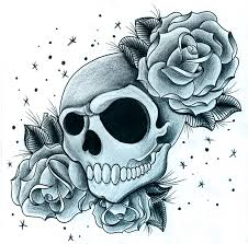 roses with skull by jerrrroen on deviantart