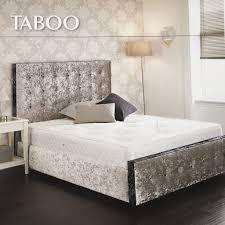 Crushed Velvet Bed Taboo Silver U0026 Black Crushed Velvet Buttoned Bed U2013 Glam Home Store
