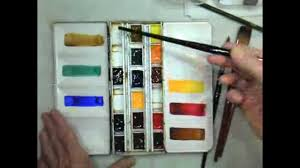 make a six color mixing chart for watercolor painting and