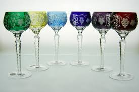 grape cut wine glass handmade of cased colored lead crystal