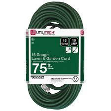 shop utilitech 75 ft 10 amp 120 volt 1 outlet 16 gauge green