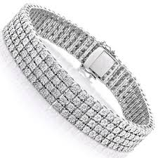 sterling bracelet images Mens sterling silver bracelets 4 row diamond bracelet 0 63ct jpg