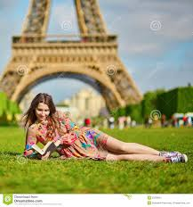 Beautiful Eiffel Tower by Beautiful Woman Walking In Paris Under The Eiffel Tower On A Nice