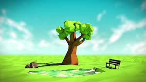 digital art low poly 3d nature trees bench lake rock field