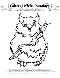 dulemba coloring page tuesday artist owl