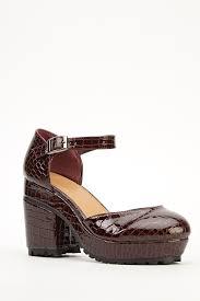 mock croc burgundy sandals just 5