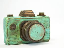 vintage camera distressed teal wood camera rustic home decor