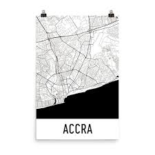 Map Art Accra Ghana Street Map Poster Wall Print By Modern Map Art