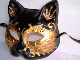 venetian cat mask style black gold papier mache cat mask with notes