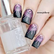 ssunnysideup black matte nails with chrome stamping