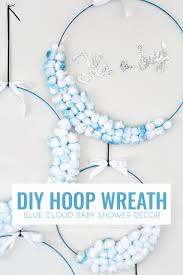 diy hoop wreath u2013 blue cloud baby shower decor common canopy