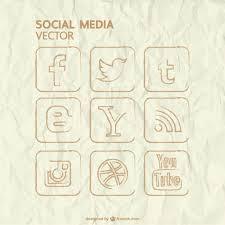 hand drawn social media icons vector free download